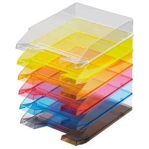 Helit 5 x Briefablage A4 Economy Polystyrol gr/ün transluzent
