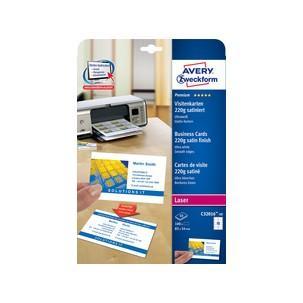 Avery Zweckform Quick Clean Visitenkarten Satiniert Ultraweiß Schnittgestanzt 220 G Qm Maße B 84 X H 54 Mm Für Inkjet Farblaser