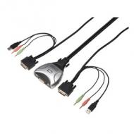 Pocket Kabel KVM Switch DVI + USB + Audio, 2-fach