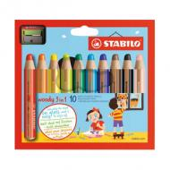 Multitalentstift woody 3 in 1, 10er Karton-Etui mit Spitzer