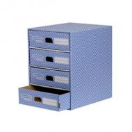 Fellowes BANKERS BOX STYLE Archiv Schubladenbox blau//weiß mit 4 Schubladen