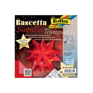 folia Faltblätter Bascetta-Stern gelb-transparent 115 g//qm 150 x 150 mm 32 Blatt
