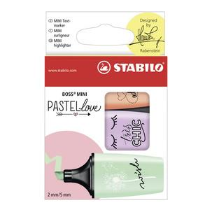 Textmarker BOSS® MINI Pastellove, 3er Etui (Sortierung: pastellorange, -lila, -grün)07/03-57