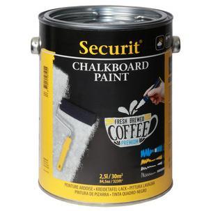 Securit Tafellack Paint Schwarz 2 5 Liter Wasserbasierende Acryl Tafelfarbe Zum Erstellen Von Kreidetafelflachen Auf Glas Metall Keramik
