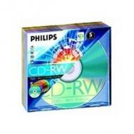 PHILIPS 5x CDRW 700MB 4-12x color Slim Hülle high speed media