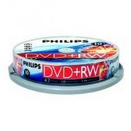 PHILIPS 10x DVD+RW 4,7GB 120min Video 4x Cake Box